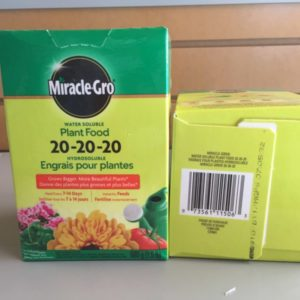 water soluble Plant Food 20-20-20.